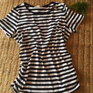 Michael Kors Striped Shirt with Side Ruching 1X